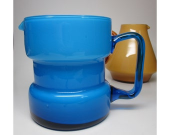 Sky Blue Cased Glass Pitcher - Scandinavian modern style