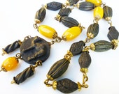Art Deco Necklace Egyptian Revival Camel Butterscotch Bakelite Dyed Pressed Rose Petal Beads Antique Jewelry