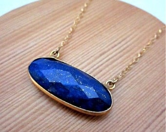 Lapis Gemstone Necklace -- Horizontal Pendant Necklace -- Dark Blue Gemstone Necklace -- Blue & Gold Necklace -- Lapis Gold Necklace