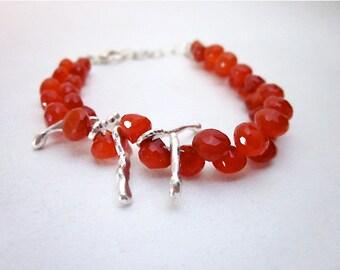 Carnelian Bead Bracelet -- Orange & Silver Bracelet -- Orange Bead Bracelet -- Orange Gemstone Bracelet -- Mantra Bracelet -- Carnelian