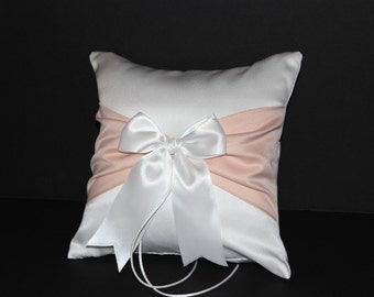 Peach Accent White or Ivory Wedding Ring Bearer Pillow