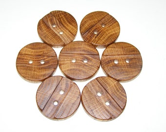 "7 Handmade  oak wood buttons, accessories ( 1,57"" diameter x 0,28"" thick)"