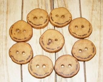 """9 Handmade oak wood buttons, accessories (1,1"""" diameter x 0,20"""" thick)"""