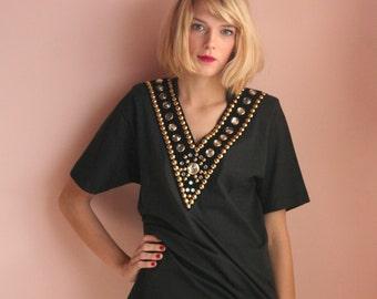 Vintage 1990's Tshirt / Rhinestone V Neck Shirt / Embellished Studded Tshirt / Avant Garde Tshirt / Golden Hollywood Star Top