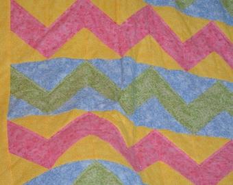 Pink Yellow Blue Chevron Crib Quilt