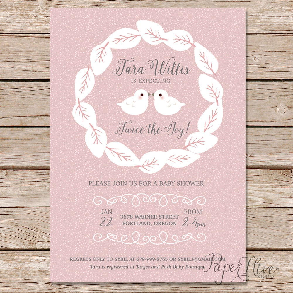 twin birds baby shower invitation baby shower invitations
