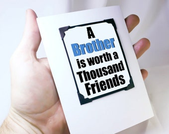 Brother Birthday Card. Cute Birthday Quote for Brothers. Brother Best Friend Card. MT095