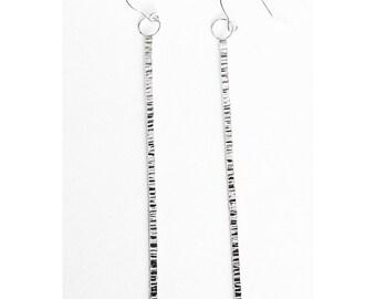 Long Thin Silver Stick Earrings - Handmade Sterling Hammer Texture Bar Drop Twig Minimal Modern Organic Ear Hooks