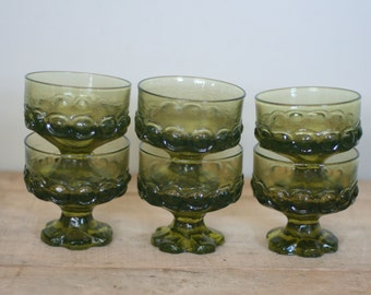 vintage franciscan madeira green glass dessert dishes set of six