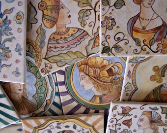 Ten (10) Hand Painted Ceramic Tiles.  You select the designs.