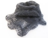 Little lace scarf mohair scarf knitted neckwarmer grey scarflette hand knitted lace scarf girls scarf ladies scarf