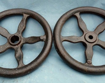 Lot Of Two Antique Mechanical Equipment Large Lathe Round Adjustment Wheels  ( 50 % DISCOUNTED APPLIED )