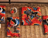 Batman Set Double Switch Plate Toggle Cover and 3 Outlets Set includes child safety plugs