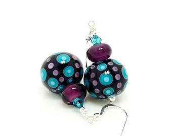 Teal Blue & Purple Polka Dot Earrings, Glass Earrings, Lampwork Earrings, Glass Bead Earrings, Beadwork Earrings, Glass Art Earrings