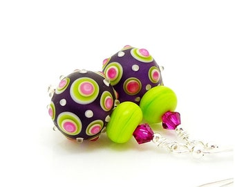 Purple Pink & Lime Green Polka Dot Earrings, Lampwork Earrings, Glass Earrings, Glass Bead Earrings, Beadwork Earrings, Glass Art Earrings