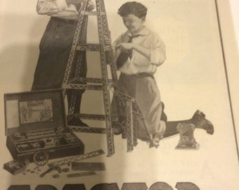 1915 Erector set advertising for boys. 9 1/2 x 7.