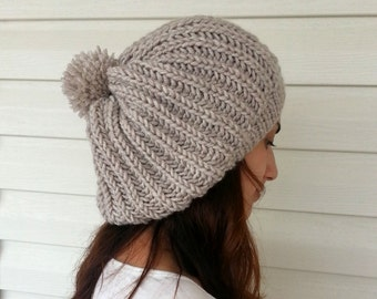Knit Slouchy Hat, Slouchy Beanie, Women Hat, Hand Knitted Hat, Slouchy Hat, Beret, Wheat, Beige Hat, Pompom Hat, Gift under 25