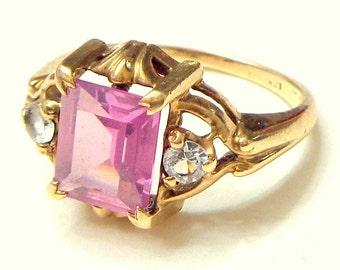 Pink Stone,10k Yellow Gold Ring,Estate Jewelry,Art Deco Era,Gemstone Jewelry, Antique Pink Ring