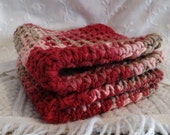 Handmade Wash Cloths Cotton Set of Two Maroon and Tan