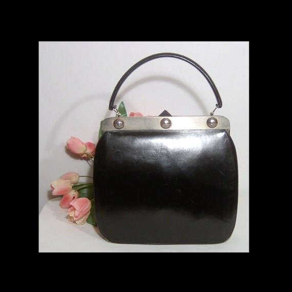 1940s 1950s large black leather handbag purse ~ by Normandie Montreal ~ made in Canada
