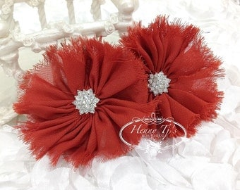 "2 pieces 3"" inch Adeila - ORANGY RED Shabby Frayed  Chiffon Ruffle Flowers with Rhinestone,applique , hair accessories"