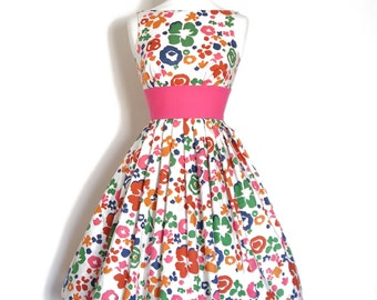 Size UK 8 - Bright Abstract Floral Tiffany Prom Dress- Made by Dig For Victory