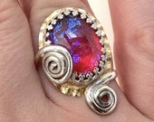 Twilight's Blush-Swirled Pink and Purple Statement Ring