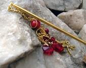 Red Coral Gemstone and Fine Cut Crystal Hair Stick - Jurmala