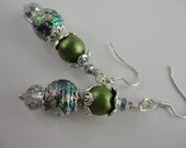Vertiver Silver and Green Bead Dangle Earrings.