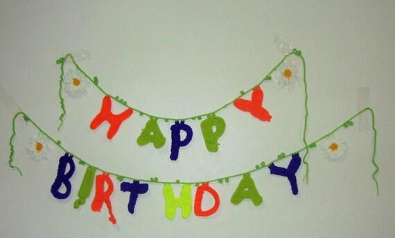 Happy birthday banner personalized, rainbow banner, crochet banner happy birthday decorations