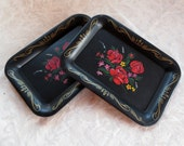 2 Roses Black Floral Metal Small Vintage Snack Trays
