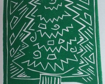 Green Christmas Card relief printed card