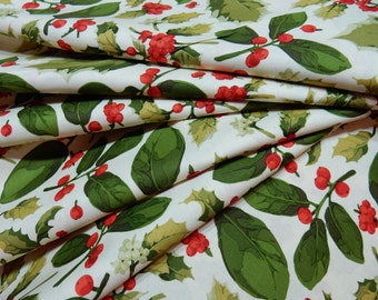 Holyday Quilting Fabric Poinsettia & Holly Mix by Martha Negley for Rowan Fabrics PWMN075.NATUR
