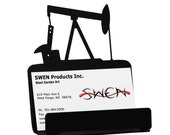 Oil Pump Jack Rig Metal Business Card Holder