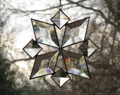 Stained Glass Suncatcher Star Snowflake Sun Catcher Beveled Bevels Christmas (8bv) Handmade OOAK