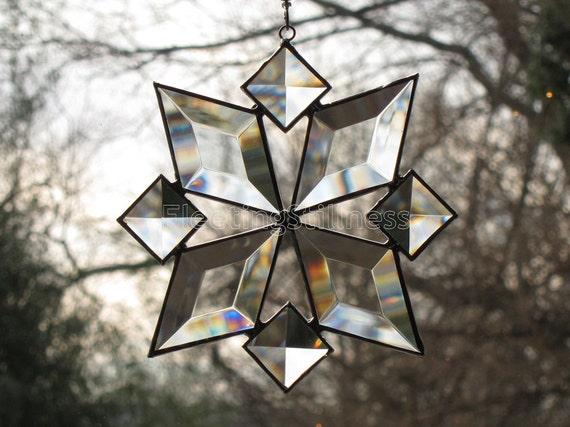 Stained Glass Suncatcher Star Snowflake Sun Catcher Beveled Bevels Christmas (8bv) Handmade OOAK