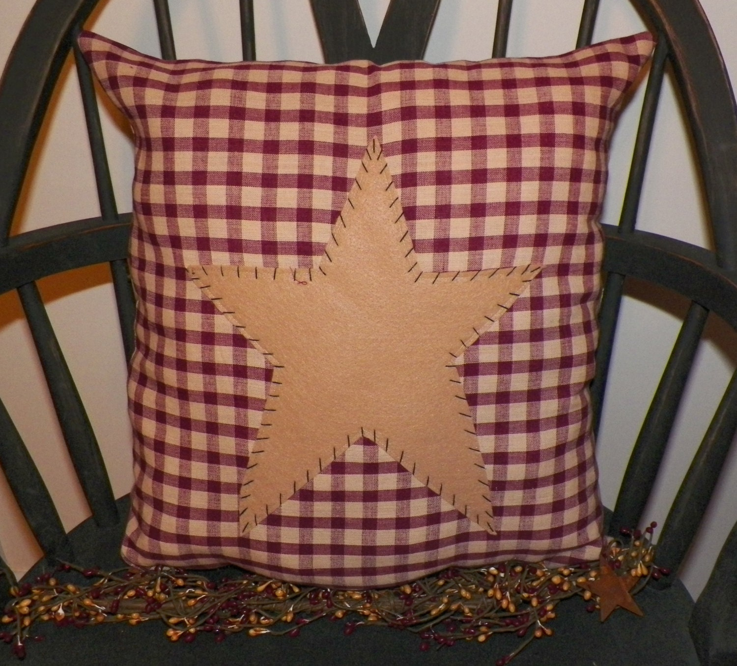 Decorative Primitive Pillows : UNSTUFFED Primitive Pillow Cover Barn Star Prim Country Red
