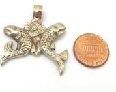 1 pendant - Two golden fish auspicious Buddhist symbol charm Tibetan silver pendant - PM286C