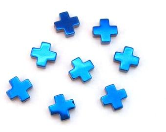 10 Beads  -  Metallic blue titanium color plated hematite gemstone cross beads 8 mm - GM357
