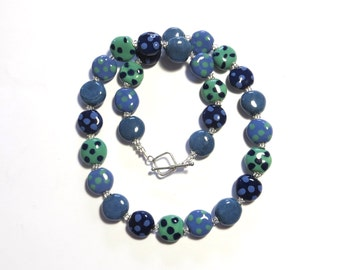 Kazuri Bead Necklace, Fair Trade Beads, Ceramic Necklace, Blue and Spearmint Green
