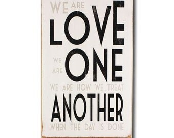love one another vintage style painted wooden sign