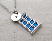 Police Box Initial Necklace. Tardis, Dr. Who Necklace, Handstamped Necklace, Best friend Gift, Handmade