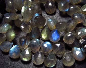 5x 8 inches Full Strand - AAA High Quality  LABRADORITE - Faceted Pear Briolettes So Gorgeous Full Flashy Fire size - 10 - 12 mm Long approx