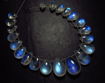 AAAA -High grade quality - Amazing Flashy Blue Fire Rainbow Moonstone Smooth pear briolett Huge size - 5.5x8  - 10.5x15 mm - 21 pcs