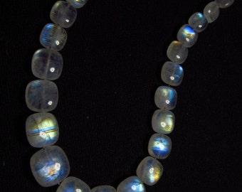 AAAA - High Quality So Gorgeous - Rainbow MOONSTONE - Smooth Cuhion shape Briolett Blue Fire size - 6 - 12 mm - 31 pcs