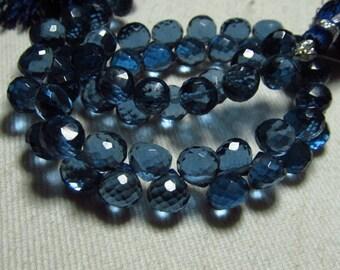 8 inches -  Amazing - Gorgeous - London Blue Colour- Quartz Super Sparkle - Faceted TOnion shape Briolett Huge Size - 6 - 6.50 mm approx