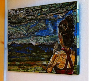 Stained Glass Mosaic on Wood Mountains Om