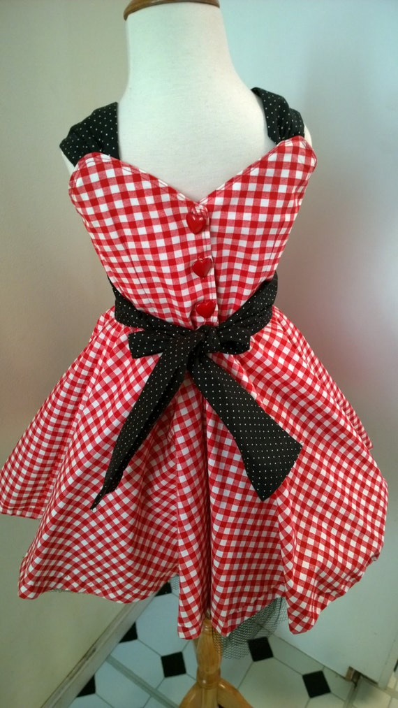 Kids 1950s Clothing & Costumes: Girls, Boys, Toddlers Rockabilly Girls Dress Gingham & Polka Dot Dress Valentines day Dress /2T to size 8/ Mommy and Me Dresses Mommy and me sets Heart Dress  AT vintagedancer.com