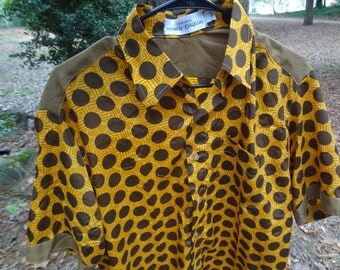 Proud Daddy - Men's Handmade Indian Polyester Button Down Dress Shirt - Father Child Coordinating Outfits - Brown and Yellow Dot - Otto G709