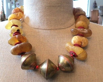 On Sale! African ocean amber beads and 3 large hand made tribal copper beads necklace